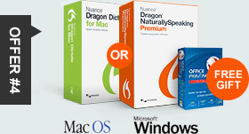 offer #4 Dragon 12 Premium or Dragon Dictate free gift MAC OS MS Windows